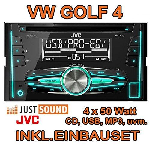 VW golf 4/bora-jVC-kW-r510E 2-dIN-autoradio cD/uSB avec kit de montage