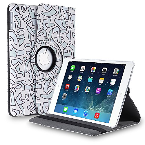TNP Apple iPad Air Case (iPad 5th Gen, 2013 Model) Tablet - 360 Degree Rotating Stand Folio PU Leather Smart Cover Case with Built-in Magnet for Auto Sleep & Wake Feature & Stylus Holder, Abstract Art (Waterproof Cas For Ipod 5 compare prices)