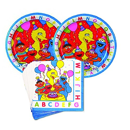 03 Sesame Street ABC birthday Party Supplies - 16 guests - lunch plates and napkins (Sesame Street Party Big Bird Lunch Napkins)