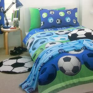 Parure housse de couette superbe motif foot football bleu for Housse couette football