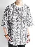 (モノマート) MONO-MART かすれ ウィンドウペンチェック オーバーサイズ カットソー プルオーバー ストレッチ 伸縮性 BIG サマー Tシャツ 夏 爽やか MODE 涼しい メンズ ホワイト フリーサイズ