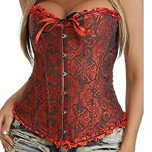 Stay 819 Vintage Gothic Lace Up Boned Overbust Corset Bustier