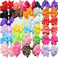 HABI 30pcs Grosgrain Ribbon Hair Bows Alligator Clips for Toddler Baby Girls