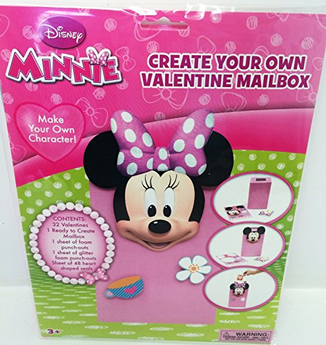 Disney Minnie Create Your Own Valentine Mailbox Plus 32 Cards, Stickers and Glitter Punch-outs