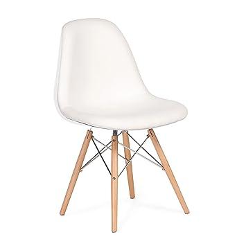 Lo+DeModa Wooden White Sedia Foderata, Acciaio/Cashmere/Gommapiuma D45/Fibra di Vetro/Faggio, Bianco, 84.5x51.5x12 cm