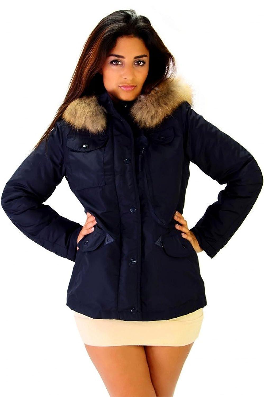 Trendige Winter Jacke mit Kapuze und Echtfell Navy Blau
