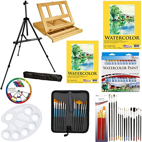 US Art Supply 69-Piece Watercolor Paint Set with Aluminum Easel, Wood Table Easel, 24 Watercolor Colors, 9
