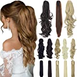 18 21 Straight Curly Synthetic Clip in Claw Ponytail Hair Extension Synthetic Hairpiece 150g with a jaw/Claw Clip