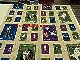 1パネル単位  マンハッタナーズ 猫のタロットカードA色 1パネル約58cm(リピート柄) オックス生地|かわいい |生地|布地|安い|服地|手づくり