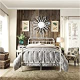 Giselle Antique White Graceful Lines Victorian Iron Metal Bed - Full Size