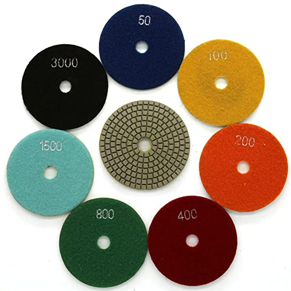 Diamond Wet Polishing Pads Sanding Grinding Discs Tools 10 Pcs Set for Granite Marble Stone 5 Grit 200 (Color: 10 Pcs: Grit 200#, Tamaño: 5 Inch)