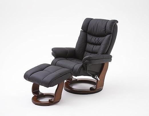 Fernsehsessel, Relaxsessel, TV-Sessel schwarz, Leder + Holz, mit Hocker, 130 kg