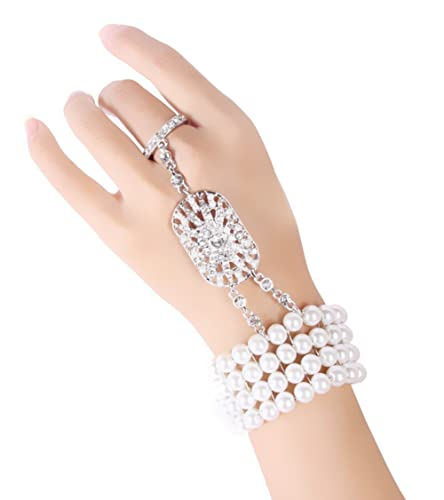 Babeyond® The Great Gatsby Inspired Bridal Flower Pattern Imitation Pearl Bracelet Ring Set (Ring size US 8)