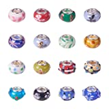 Pandahall 100PCS Mixed Styles Handmade Lampwork Glass European Beads Large Hole Rondelle Beads with Brass Double Cores, Mixed Color (Color: Lampwork-100pcs-upgraded 1, Tamaño: 8.5~13x11~18x8.5~11mm)