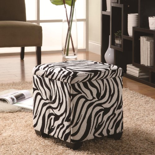 White Zebra Print Fabric Upholstered Storage Ottoman by Coaster - Zebra OttomansSale.com