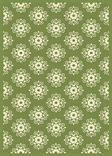 Durable Heat Set Green Casual Floral Indoor/outdoor Carpet Scrolls Filigree Flower Patio Area Rug (5' x 7')