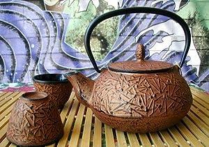 Large Japanese Cast Iron Tea Pot Tea Set  Pine Copper 24 oz by JapanBargain