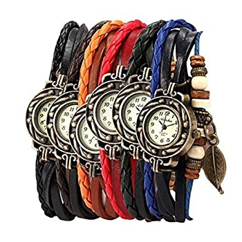 Yunan Pack of 6 Women's Watches Vintage Wrap Around Bead Leaf Bracelet Quartz Wholesale Set