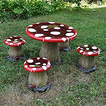 Mushroom Table & Chairs Set (1 Table & 4 Stools) - Children's Novelty Garden Furniture Toadstool Pixie Fairy