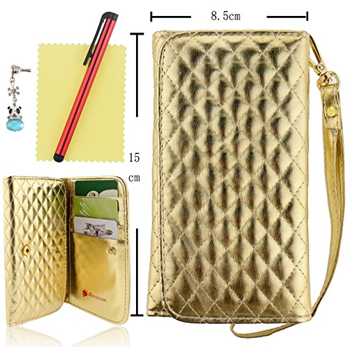 Ancerson New Hot Sale Bling Stylish Luxury Plaid Button Handbag Design Built-In Credit/ Id Card Slots Pockets Slim Pu Leather Protective Flip Wallet Purse Case Cover Pouch Shell Skin With Hand Strip For Apple Ipod Touch 2 3 4 5, Apple Iphone 3 3G 3S 4 4S