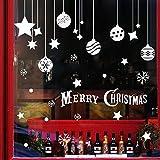 Extsud Natale Vetrofanie, 2 Pezzi Adesivi Murali Palle Stelle Nevi Merry Christmas, DIY Stickers da Vetro Finestra Vetrina Parete Decorazione Natalizia Casa Fai da Te (Palle Stelle)