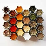 Gneiss Spice DIY Magnetic Spice Rack: Includes Empty Hexagon Jars, Magnetic Lids & Clear Labels (Set of 24, Silver Lids)