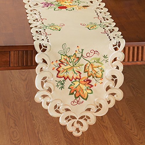 Embroidered autumn harvest leaves table linens runner