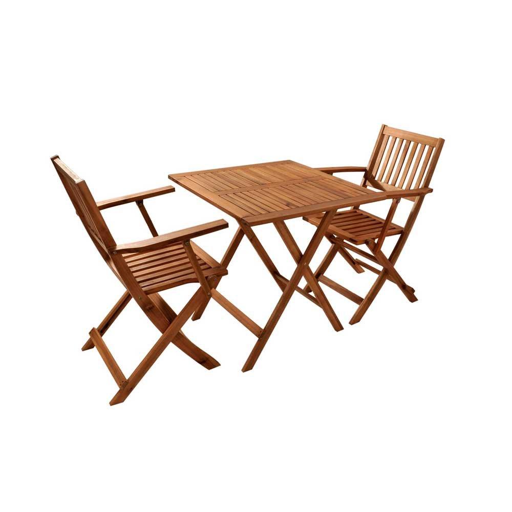 Balkon Sitzgruppe aus Akazie Massivholz klappbar (3-teilig) Pharao24