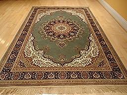 Luxury Silk Area Rugs Green Rug 5x8 Rug Silk Persian Isfahan Style 5x7 Living Room Rugs Bedroom Green Rug (Medium 5\'x8\')