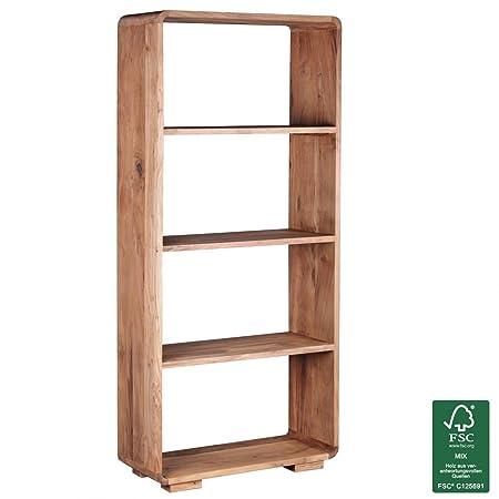 Soggiorni in legno di acacia legno massiccio Ling libreria 85 x 35 x 190 cm supporto scaffale