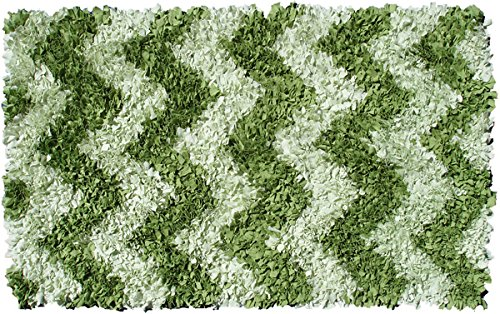 The Rug Market 02282D Handmade Rugs, Shaggy Raggy Green Chevron, Green