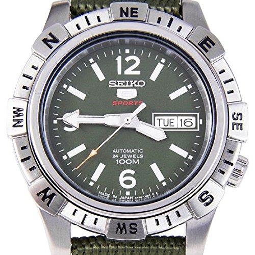 Seiko 5   Sports Herren Automatikuhr, Militärgruen aus Nylon Uhrenband - SRP145J1 (Made in Japan)
