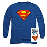 Superman Classic Logo Long Sleeve T-Shirt (X-Large) (Color: Royal Blue, Tamaño: X-Large)