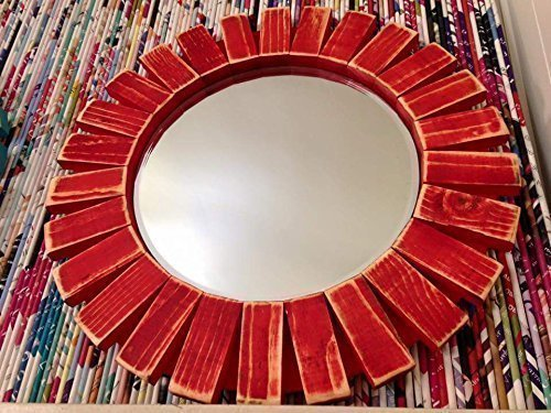 Sunburst Wall Mirror Round Wood Frame Red 22'' Flamingo Red 3