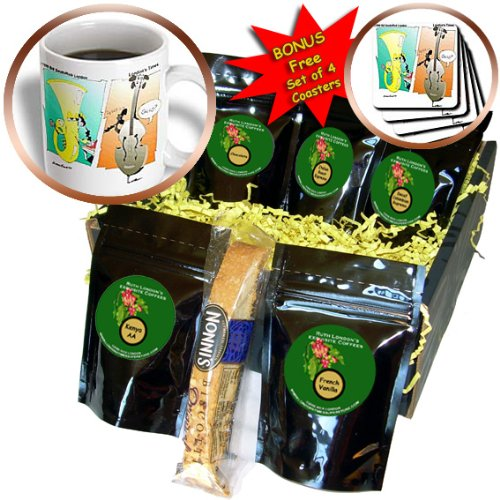 cgb_2069_1 Londons Times Funny Music Cartoons - Musical Instrument Phone Calls - Coffee Gift Baskets - Coffee Gift Basket