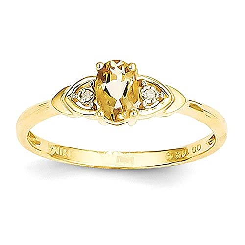 14K Diamond & Citrine Ring