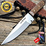 6'' Mountain Man Western Style Skinner Fixed Blade Trade Patch Knife Sheath For Hunting Tactical Camping Cosplay + eBOOK by MOON KNIVES