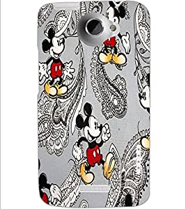 PrintDhaba Mickey Mouse D-1449 Back Case Cover for HTC ONE X (Multi-Coloured)