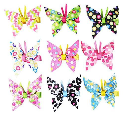 HipGirl Ribbon Sculpture Hair Bow Clips, Barrattes (9pc Grosgrain Butterfly Hair Clips)