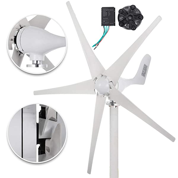 Happybuy Wind Turbine Generator 500W DC 12V Wind Turbine 5 Blade Low Wind Speed Starting NSK Bearings Garden Street Lights Wind Turbines with Charge Controller Garden (500W 12V) (Color: 500W 12V, Tamaño: 500W 12V)