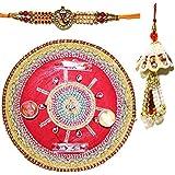 Handcrafted Steel Ganesha Design Pooja Thali Gift With Single Fancy Rakhi & Designer Lumba For Bhabhi - B073RK2YCY