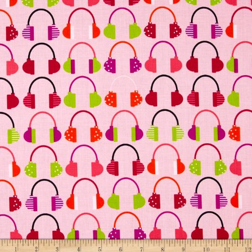 Beatbox Headphones Pink Retro Fabric