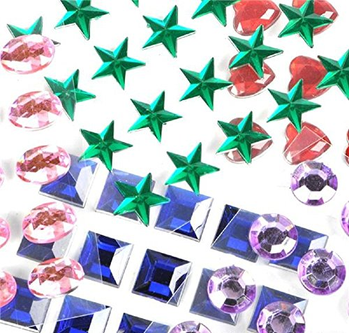 Mini Self-Adhesive Back Jewels Multi-Color Assorted Gems Rhinestone, Hearts, Diamonds, Stars Stickers for Arts & Crafts Projects, Decorations, Invitations (500 Assorted Pieces) by Super Z Outlet (Gems Arts And Crafts compare prices)