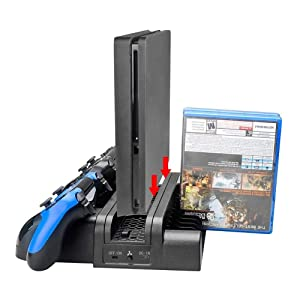 MOSTOP PS4 Cooling Systems Fan Vertical PS4 Stand Holder with Dual Controller Charging Dock Station 12 Games Storage Cooler Base for PS4/ PS4 Pro/ PS4 Slim