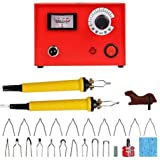 Pyrography Machine 110V 50W Wood Burning Craft Tool Kit Burning Detailer for Wood Leather Gourd with 20 Tips Dual Pen (Color: 50W Pyrography Machine)