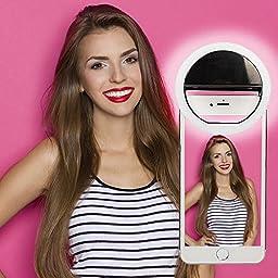 S&S Selfie Ring Light 3-Level Brightness LED Clip On for  All Smart Phones/Tablets -Black