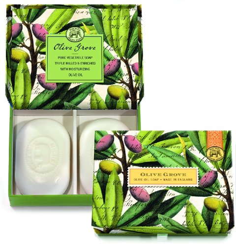 Michel Design Works Triple-milled Bar Soaps and Decorative Box, 4.5-Ounce, Olive Grove, 2-Count