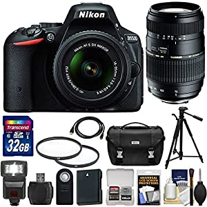 Nikon D5500 24.2MP Wi-Fi Digital SLR Camera with 18-55mm G VR DX II and 70-300mm Lens Bundle with Accessories (Black,15 Items)