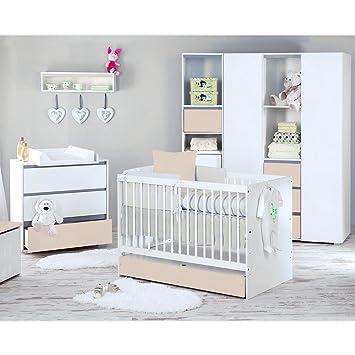 Babyzimmer Dalia in Beige 19 tlg. mit 3 turigem Kl. + Set Memi, Blau