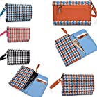 Wristlet phone wallet/holder with coin pocket in Baby blue/Orange with a wool fabric finish- Universal design for the following Models: Nokia Asha 200/Nokia Asha 201/Nokia Asha 202/Nokia Asha 203/Nokia Asha 205/Nokia Asha 210